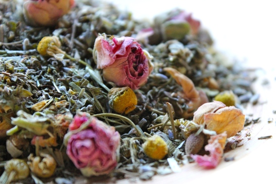 Dried herbs and roses