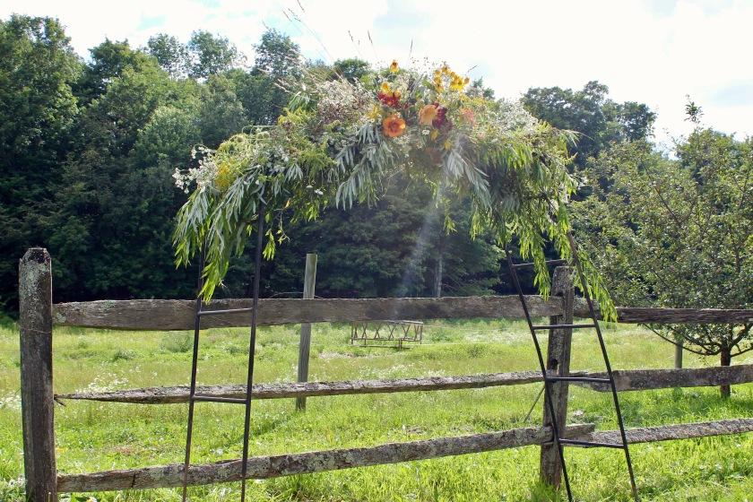 Wildflower wedding arbor