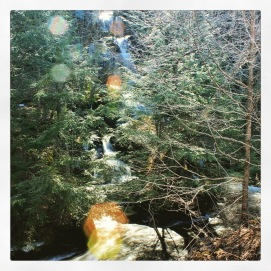 Lens flare on a Catskills waterfall